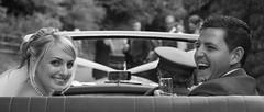 Heading off (DickieK) Tags: wedding car happy groom bride couple smiles marriage journey bridegroom boughtonmonchelsea