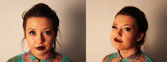 Double portrait of Shannel. (Owen Schooley) Tags: portrait woman silly floral girl beauty face hair close makeup double portraiture lipstick