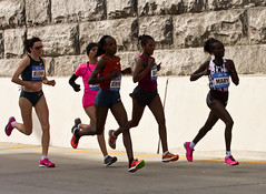 Women's Leaders Crossing Willis Avenue Bridge (maisa_nyc) Tags: nyc newyork bronx marathon runner newyorkcitymarathon jelenaprokopcuka willisavenuebridge marykeitany firehiwotdado rkiaelmoukim tcsnycmarathon jemimasumgong
