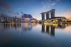 Reflect (bing dun (nitewalk)) Tags: morning marina sunrise bay singapore mbs