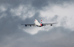 G-BNLU last flight. (aitch tee) Tags: weather clouds aircraft boeing scrapping britishairways takeoff victorville stormyskies walesuk cardiffairport lastflight b747400 bamc gbnlu