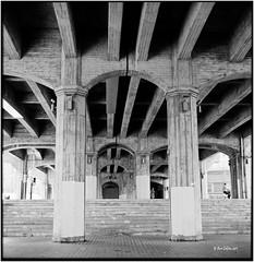 Under the bridge_Rolleiflex 2.8E (ksadjina) Tags: 6x6 film analog blackwhite spain scan bilbao rodinal silverfast kodak100tmax rolleiflex28e nikonsupercoolscan9000ed carlzeissplanar80mmf128