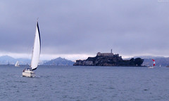 "White Sailboat with Alcatraz Island behind • <a style=""font-size:0.8em;"" href=""http://www.flickr.com/photos/34843984@N07/15546181155/"" target=""_blank"">View on Flickr</a>"