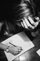 (Jan Phoenix) Tags: hp5 om4ti olympus analog camera film ilford janphoenix girl book pencil hand ring study watch nails
