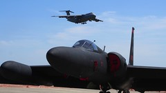 Lockheed U-2 'Dragon Lady' with a Lockheed C-5 Galaxy in the background 2 (Jack Snell - Thanks for over 21 Million Views) Tags: show ca wallpaper wall lady paper u2 team dragon power expo aircraft air over travis lockheed solano thunder fairfield 2014 jacksnell707 jacksnell