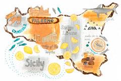 Sicily (Sharon Farrow) Tags: travel sea italy food fish collage illustration pen pencil typography italian paint pattern map chocolate decorative maps sicily illustrator palermo etna sardines cannoli swordfish illustratedmaps illustratedfood sicilianlemons sharonfarrow