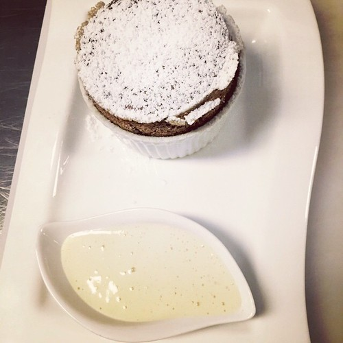 Chocolate Soufflé with champagne sabayon