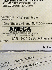 CONGRATS to Louisiana Film Prize's Best Actress Award winner Chelsea Bryan (Angel of Joy) and our Best Actor Award winner James Palmer (Snip)! They win a snazzy trophy AND $1000. Give them a LIKE (or two)!