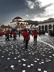 Red Muses (tSos Greq) Tags: plaza red musician music square rojo metro athens greece grecia atenas acropolis monastiraki tagrex