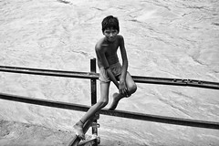 Tattoos and ropes Inc. (alfieianni.com) Tags: boy portrait people bw india white black boys muscles swimming river child muscle working streetphotography traveling bathing abs reportage ganges haridwar