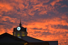 Sunrise Sky (esywlkr) Tags: morning sky clouds sunrise cityhall clocktower redsky sugarhill