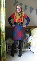 Plaid skirt and gold cowl (bewitchedmagic) Tags: vintage outfit crochet charm ring thrift bracelet wardrobe whatiwore cowl