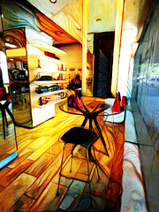 Getting a Pemanent Wave (Steve Taylor (Photography)) Tags: hairdressers wave salon hairdressing permentwave art digital fashion chair table floor colourful mad odd strange weird wooden newzealand nz southisland canterbury christchurch cbd city curve lines