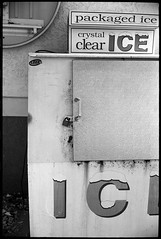Ice (FreezerOfPhotons) Tags: cosinavoigtlanderbessar3m nokton40mm14sc singlecoatedlens ultrafineextreme100 ultrafine xtol abandonedfillingstation petrol gasstation outofbusiness metal paint concrete rubber
