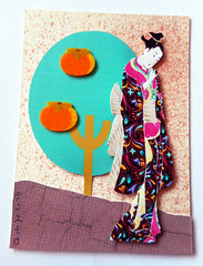 ATC1328 - Geisha by the orange tree (tengds) Tags: atc artisttradingcard artcard handmadecard card collage tree oranges orangetree aquamarine brown geisha kimono black pink papercraft tengds