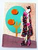 ATC1328 - Geisha by the orange tree (tengds) Tags: atc artisttradingcard artcard handmadecard card collage tree oranges orangetree aquamarine brown geisha kimono black pink papercraft tengds