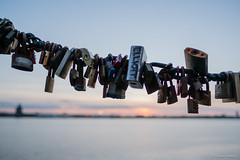 Padlock Sunset (Jemma Graham) Tags: 2017 fujifilm liverpool xt2 fuji padlock padlocks fence sunset mersey docks albert dock