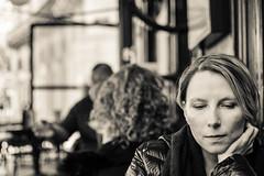 Thinking... (Glosoli photographie) Tags: nikond5300 35mm18 street blackandwhite emotion girl pensées alone feeling