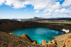 Lac de cratère du Viti, région Krafla (Voyages Lambert) Tags: krafla myvatn travel hotspring scenics multicolored greencolor blue turquoisecolored colors nature iceland europe caldera volcaniccrater volcano landscape sky lake snow water residentialdistrict