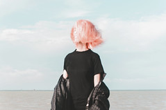 other times both. (Richard John Pozon) Tags: sea ocean girl pink hair wind concept minimal minimalism conceptualphotography longing hopes photographs
