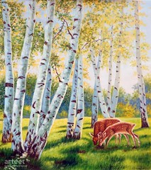 Deers in Aspens, Art Painting / Oil Painting For Sale - Arteet™ (arteetgallery) Tags: arteet oil paintings canvas art artwork fine arts season natural tree plant spring colorful autumn landscape summer grass forest sun seasonal bright trees wallpaper sunny drawing day deer wild animals landscapes wildlife forests lime white