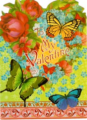 Postcrossing US-4605339 (booboo_babies) Tags: valentine vintage victorian valentinesday butterflies oldfashioned postcrossing flowers