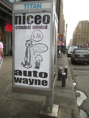 Niceo Wayne Auto Graffiti Art Calvin and Hobbs Comic Strip 4483 (Brechtbug) Tags: niceo wayne auto graffiti calvin hobbs newspaper comic strip characters art posters sidewalk phone booth 7th avenue near 34th street midtown nyc 2017 04172017 new york city profile design films movie funnies sunday papers bill watterson cartoonist tigre kid stuffed tiger st ave streets niceos criminal minded you been blinded guerilla ads cover manhattan culture jamming bombing since 1977 mass appeal reports same funny cartoon news paper cm