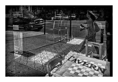 The tavern reflection. (Bert Vereecke) Tags: bert vereecke belgium street photography new york city canon eos mark ii 50mm black white bw available light candid decisive moment flickr flickriver explore scout best camera prime lens left eyed eye portrait scene snap square squareformat unposed crop real fuji xe2 short series architecture non place contemporary 35mm 56mm fujinon