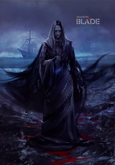 Ghost ship lady. Ghost lady standing on a shore with a talisman in her hand. (shadowbilgisayar) Tags: woman death art fog paranormal halloween cold medieval stone shore bride mystery rocks creature ship old black female dark fantasy dress lady illustration fear nightmare talisman spooky curse design blue mist horror evil haunted ghost sea scene background nature scary blood mental ocean ukraine