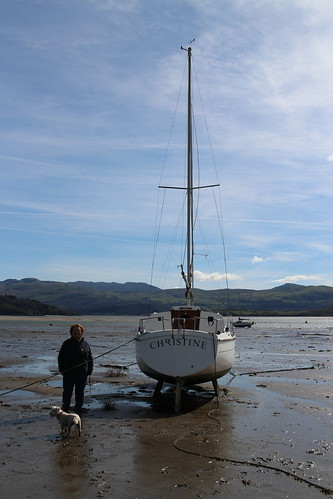 My mum on Borth-y-Gest beach