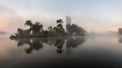 Carillion (GreyStump) Tags: greystump lakeburleygriffin fog foggy mist australia sunrise lake canberra dawn morning copyrightcolinpilliner water carillion