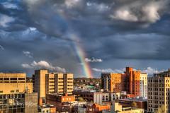 Between Bow - Roanoke (Terry Aldhizer) Tags: rainbow bow between roanoke city virginia rain weather sky clouds showers buildings optic sunshine terry aldhizer wwwterryaldhizercom