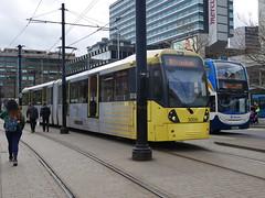 Manchester Metrolink 3008 (Boothby97) Tags: bombardierm5000flexityswift tram manchester manchestermetrolink piccadillygardens piccadillygardensdeltajunction ratpdev 750vdcelectric 750vdc 3008 lineb