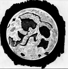 Full Moon (ashley russell 676) Tags: pen ink drawing full moon astronomy astrology lunar luna illustration cross hatch shading