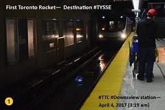 First Toronto Rocket to Vaughan arrives at Downsview stn (Toronto-York Spadina Subway Extension - TTC) Tags: subway ttc toronto transit commission rocket tysse