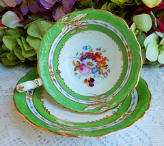 Vintage English Porcelain Cup & Saucer ~ Green ~ Gold Gilt ~ Flowers (Donna's Collectables) Tags: vintage english porcelain cup saucer ~ green gold gilt flowers