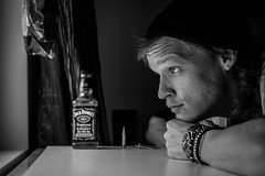Dark thoughts (Tindeto) Tags: dark drink whisky bnw portrait sweden jackdaniels watch window thoughts life canon