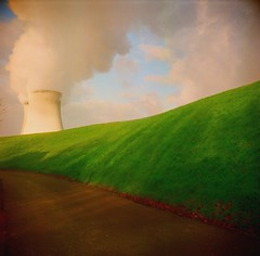 Surreal landscape (ephemeral_x) Tags: provia fuji start 6x6 abandoned village green cooling tower smoke road sky painting like shadows surreal composition landscape polish camera