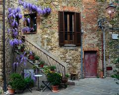 Piazzetta del Forno (njk1951) Tags: borgo village italy wisteria italia montemerano springtime piazza piazzettadelforno chair reddoor streetlamp vine blossoms stairs window tuscany