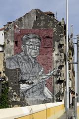 Street art grandad (NoahHQ) Tags: porto portugal iberia april 2017 streetart street art graffiti flatcap hat cap old man grandad grandfather shirt red grey yellow