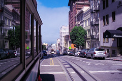 "Riding San Francisco Cable Car looking back • <a style=""font-size:0.8em;"" href=""http://www.flickr.com/photos/34843984@N07/14926356283/"" target=""_blank"">View on Flickr</a>"