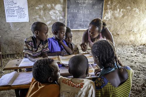 Yeglime Mebrtu, helps pupils at Alula ABEC (Alternative Basic Education Center)