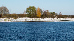 October met winter (andrey.senov) Tags: blue autumn trees white snow green fall water yellow river october fuji russia bank fujifilm province volga x10       kostroma      10faves     fujifilmx10
