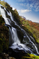 Bride's Veil Falls and the Old Man of Storr (amcgdesigns) Tags: skye water waterfalls slowshutter oldmanofstorr andrewmcgavin cuillinlodgeoct2014