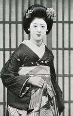 Maiko Fukiko (Blue Ruin 1) Tags: 1920s japan japanese 1930s kyoto postcard maiko geiko geisha kanzashi hairornament showaperiod apprenticegeisha obiage fukiko kyomaiko kyotoapprentice