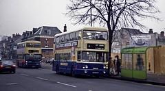 Strafford Road, Sparkbrook, Birmingham, 1989 (Lady Wulfrun) Tags: christmas city 6 bus birmingham centre 1989 shelter metrobus twm mcw sparkbrook mk1 6501 wmt wmpte sda501s straffordroad