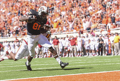 Image Taken at the Oklahoma State Cowboys vs Iowa State Cyclones, Saturday, October 4, 2014, Boone Pickens Stadium, Stillwater, OK (OSUAthletics) Tags: cowboys football osu cyclones isu touchdown pokes 2014 iowastateuniversity big12 oklahomastateuniversity seales jhajuanseales