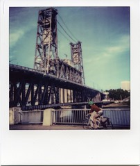 Biker and Steel Bridge [Explored] (patrick j. clarke) Tags: iphone impossibleinstantlab kingofthelab