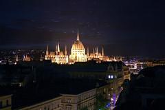 Budapest - the illuminated Parliament building with fireflys (Romeodesign) Tags: street light night long exposure hungary budapest parliament illuminated parlament fireflys 550d