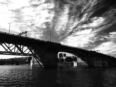 Walking in Portland (pete4ducks) Tags: cameraphone bridge autumn blackandwhite bw fall water oregon river portland willametteriver iphone 2014 burnsidebridge